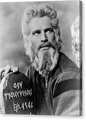 Ten Commandments Canvas Print - Charlton Heston In The Ten Commandments by Silver Screen