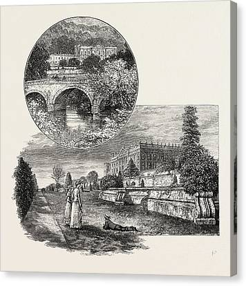 Chatsworth House Is A Stately Home In North Derbyshire Canvas Print by English School