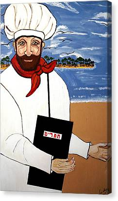 Canvas Print featuring the painting Chef From Israel by Nora Shepley