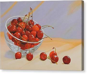 Cherries Bowl Canvas Print by Lepercq Veronique