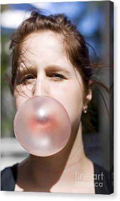 Blows Air Canvas Print - Chewing Gum Lady by Jorgo Photography - Wall Art Gallery