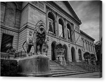 Chicago Art Museum Lion Canvas Print by Mike Burgquist