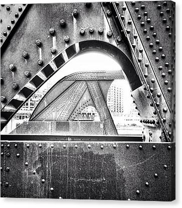 Chicago Bridge In Black And White Canvas Print by Paul Velgos