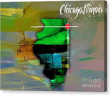 Chicago Illinois Map Watercolor Canvas Print