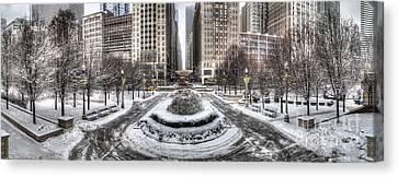 Chicago In Winter Canvas Print by Twenty Two North Photography