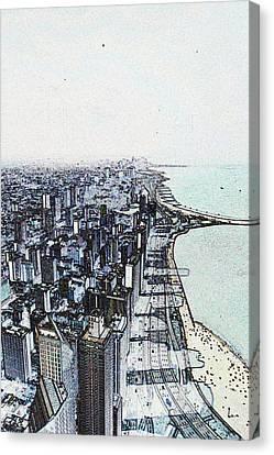 Chicago Lakefront Sketch Canvas Print