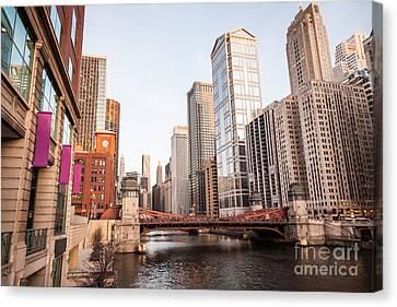 Chicago River Canvas Print - Chicago River Skyline At Lasalle Street Bridge by Paul Velgos