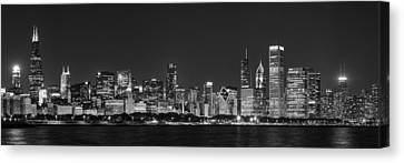 Chicago Skyline At Night Black And White Panoramic Canvas Print by Adam Romanowicz