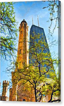 Chicago Water And Hancock Towers Canvas Print by Christopher Arndt
