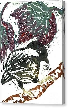 Chick A Dee  Block Print Canvas Print by Ellen Miffitt