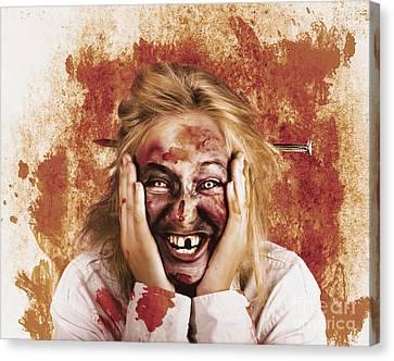 Chilling Female Halloween Spook. Grunge Horror Canvas Print