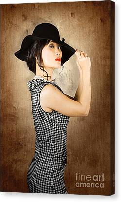 Chinese Woman Posing With Fashionable Summer Hat Canvas Print by Jorgo Photography - Wall Art Gallery