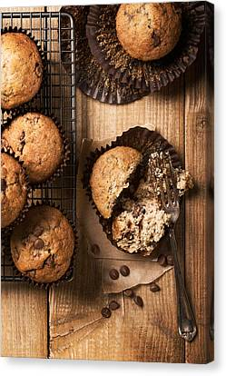 Country Kitchen Canvas Print - Chocolate Chip Muffins by Amanda Elwell
