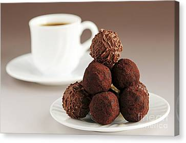 Chocolate Truffles And Coffee Canvas Print by Elena Elisseeva