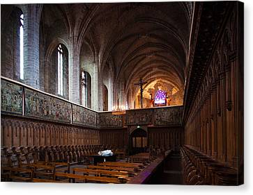 Chaise Canvas Print - Choir Stalls At Abbatiale Saint-robert by Panoramic Images
