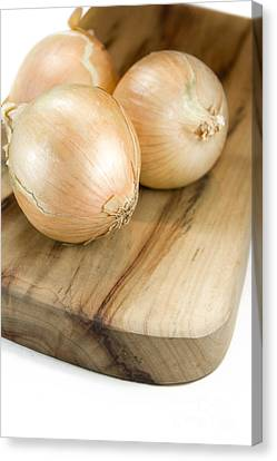 Chopping Board Onions Canvas Print by Jorgo Photography - Wall Art Gallery