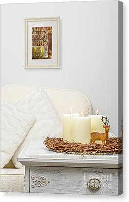 Christmas Candles Canvas Print by Amanda Elwell