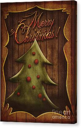 Christmas Card - Vintage Christmas Tree In Wooden Frame Canvas Print