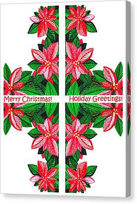 Poinsettias Canvas Print - Christmas Card by Irina Sztukowski