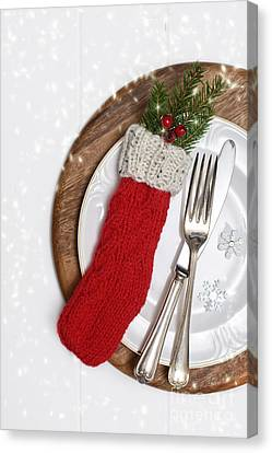 Christmas Cutlery Canvas Print by Amanda Elwell