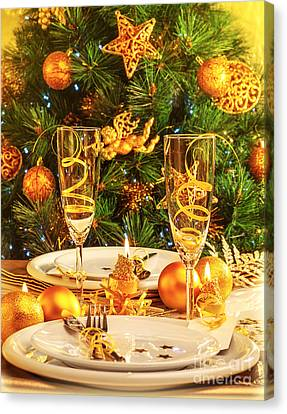 Christmas Dinner In Restaurant Canvas Print by Anna Om