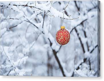 Christmas Ornament In The Snow Canvas Print by Diane Diederich