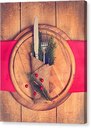 Christmas Table Setting Canvas Print by Amanda Elwell