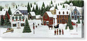 Christmas Valley Village Canvas Print by David Carter Brown