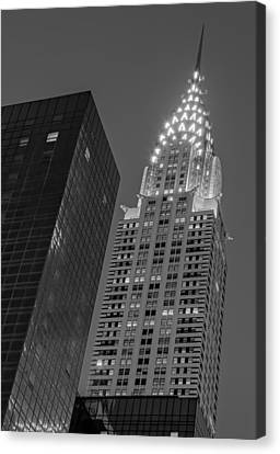 Chrysler Building Twilight Bw Canvas Print