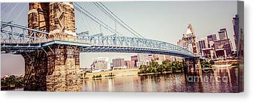 Cincinnati Bridge Retro Panorama Photo Canvas Print by Paul Velgos