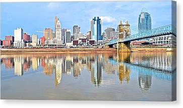 Cincinnati Reflects Canvas Print by Frozen in Time Fine Art Photography