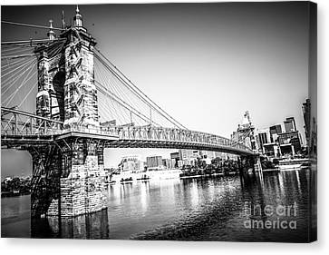 Cincinnati Roebling Bridge Black And White Picture Canvas Print by Paul Velgos