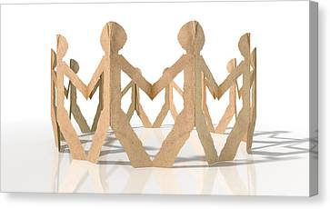 Circle Of Cutout Paper Cardboard Men Canvas Print