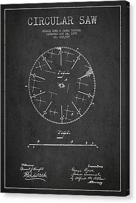 Circular Saw Patent Drawing From 1899 Canvas Print by Aged Pixel
