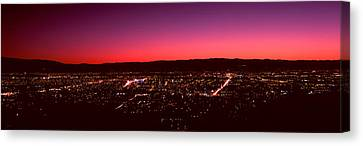 City Lit Up At Dusk, Silicon Valley Canvas Print by Panoramic Images
