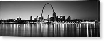 City Lit Up At Night, Gateway Arch Canvas Print by Panoramic Images