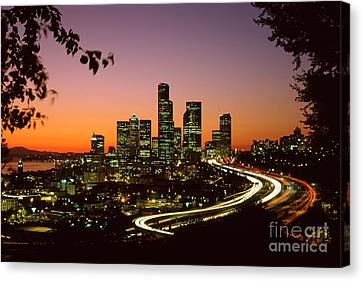 City Of Seattle Skyline Canvas Print by King Wu