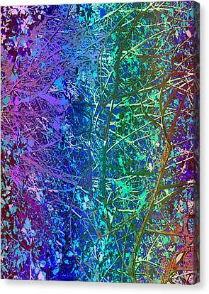 Digital Free Style Canvas Print - City Roads Map  Night Vision Neon Colors  Digital Graphic Conversion Enhancements Magical Signature  by Navin Joshi