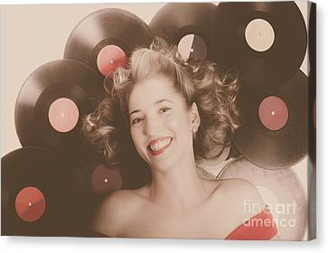Classic Pin Up Girl On Vintage Vinyl Lp Records Canvas Print by Jorgo Photography - Wall Art Gallery