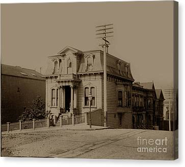 Clay And Hyde Street's San Francisco Built In 1874 Burned In The 1906 Fire Canvas Print by California Views Mr Pat Hathaway Archives
