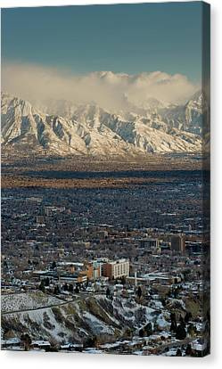 Clean Air From Ensign Peak Area Looking Canvas Print by Howie Garber