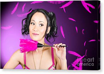 Cleaning Lady Maid Dusting With Feather Duster Canvas Print by Jorgo Photography - Wall Art Gallery