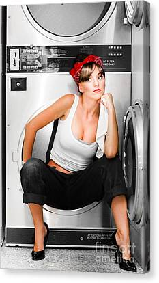 Cleaning Lady With A Dream Canvas Print by Jorgo Photography - Wall Art Gallery