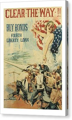 Clear The Way Vintage World War 1 Art Canvas Print by Presented By American Classic Art