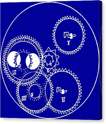 Clock Gears Blueprint Canvas Print by