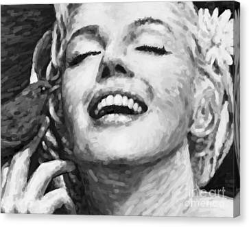 Close Up Beautifully Happy In Black And White Canvas Print by Atiketta Sangasaeng