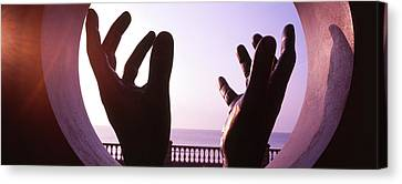Close-up Of A Hand Sculpture, Sitges Canvas Print by Panoramic Images