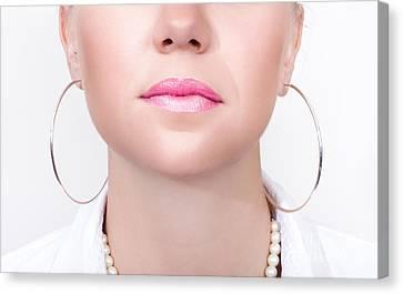 Closeup Beauty Photo Of Shiny Pink Lipstick Canvas Print by Jorgo Photography - Wall Art Gallery