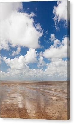 Clouds Over Beach, Wadden Sea National Canvas Print