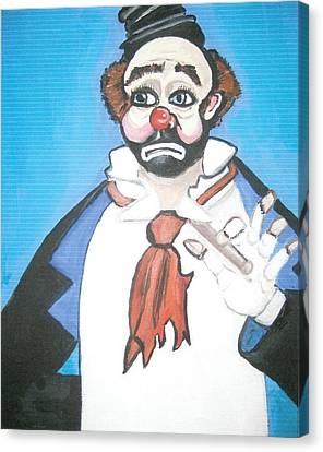 Canvas Print featuring the painting Clown by Nora Shepley